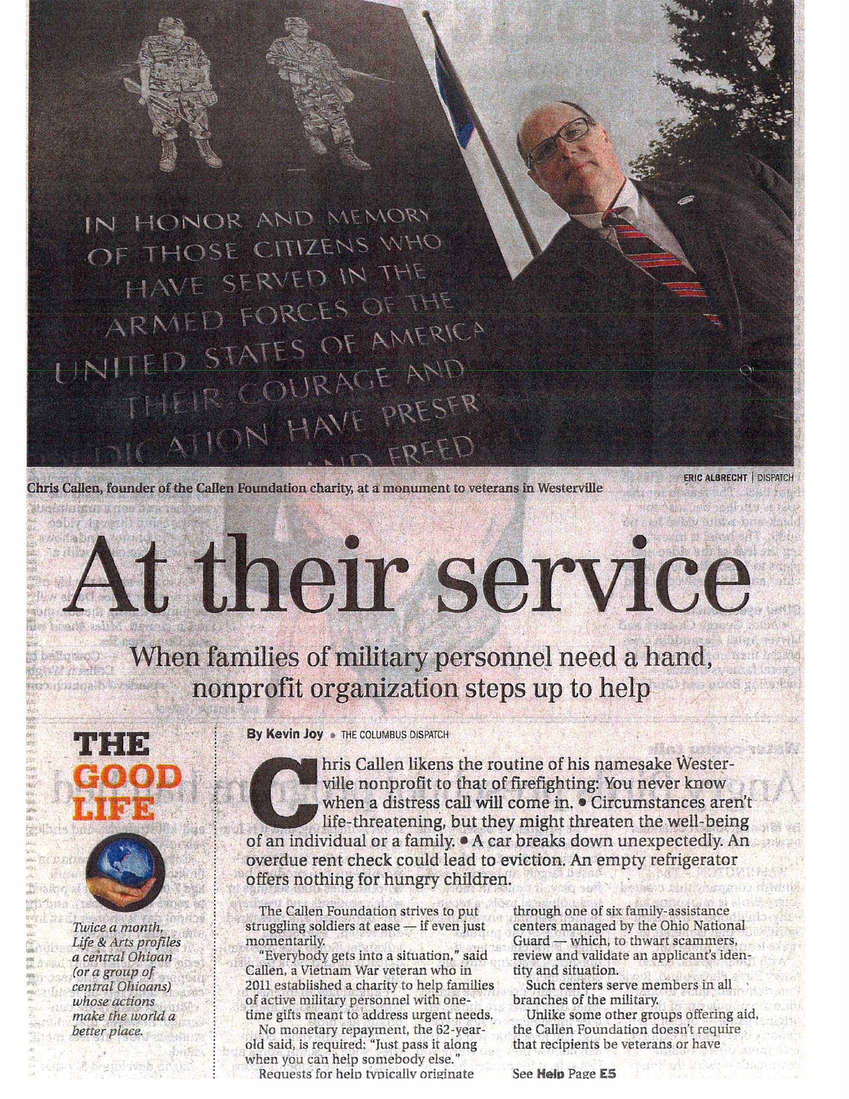 Article - Cols Dispatch - 5-13-14 - TCF Foundation Helps COPY ARTICLE - pg 1