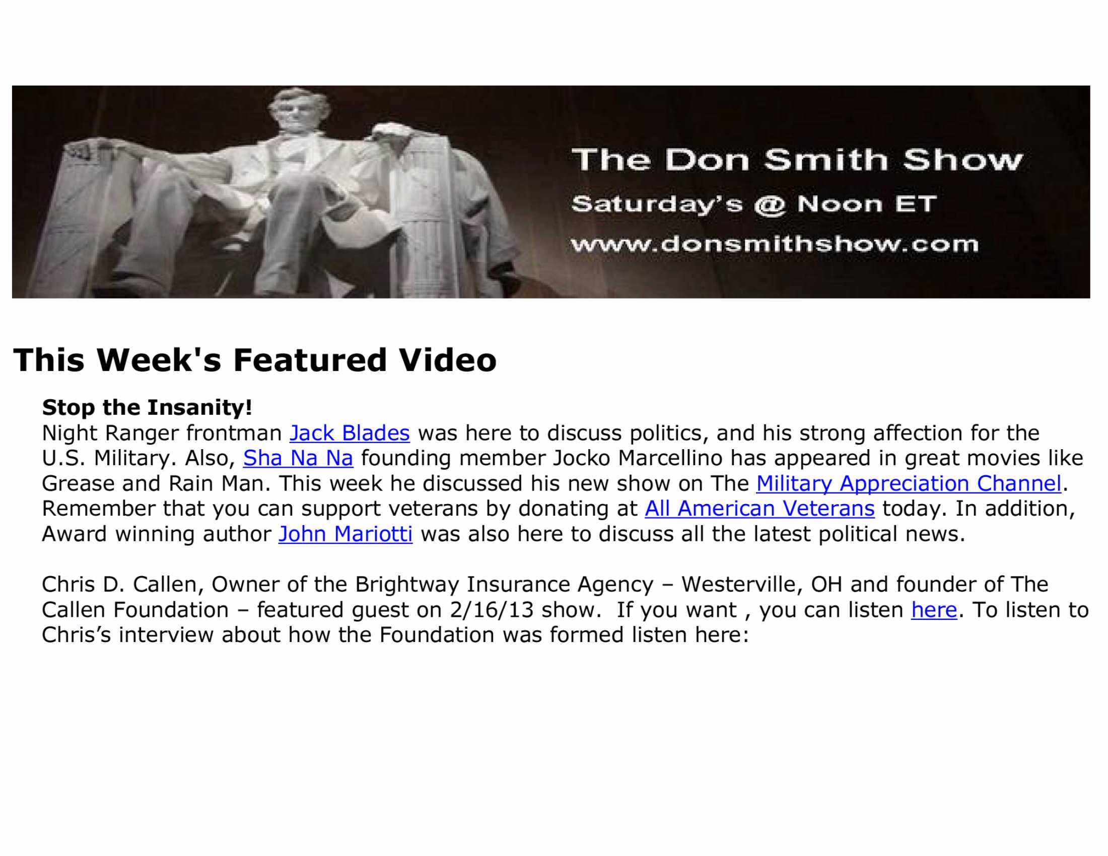 Don Smith Show - CDC Interview - 2-16-13
