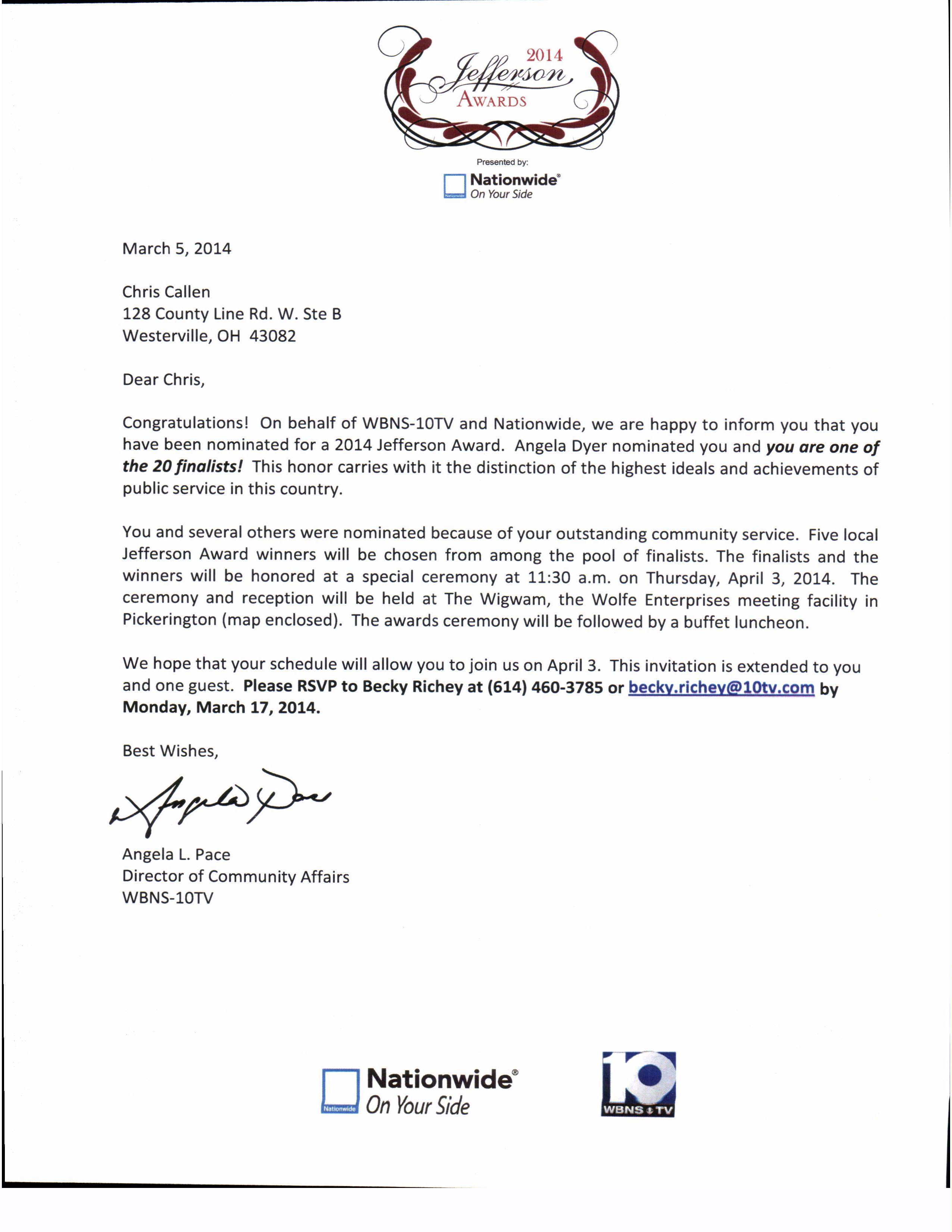 Jefferson Award - Notification Letter