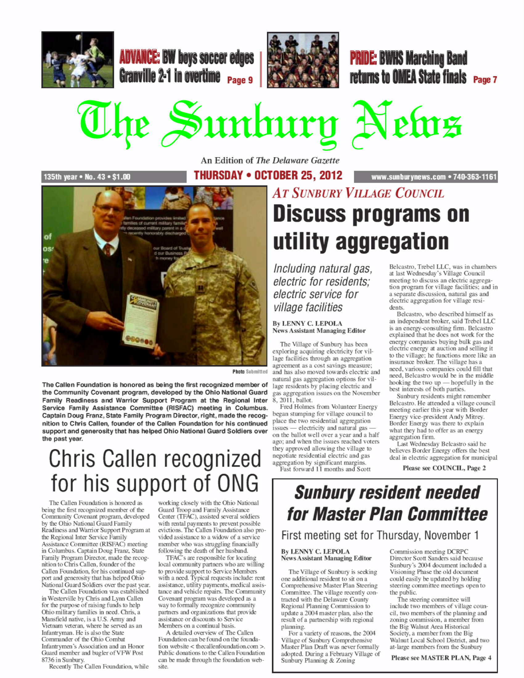Sunbury News  - Cover Story - TCF  ONG Covenant Award - 10-12